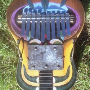 bass mbira on guitar soundbox